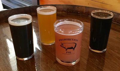 December 8, 2018 - Samples at Prohibition Pig Brewery in Waterbury, Vermont