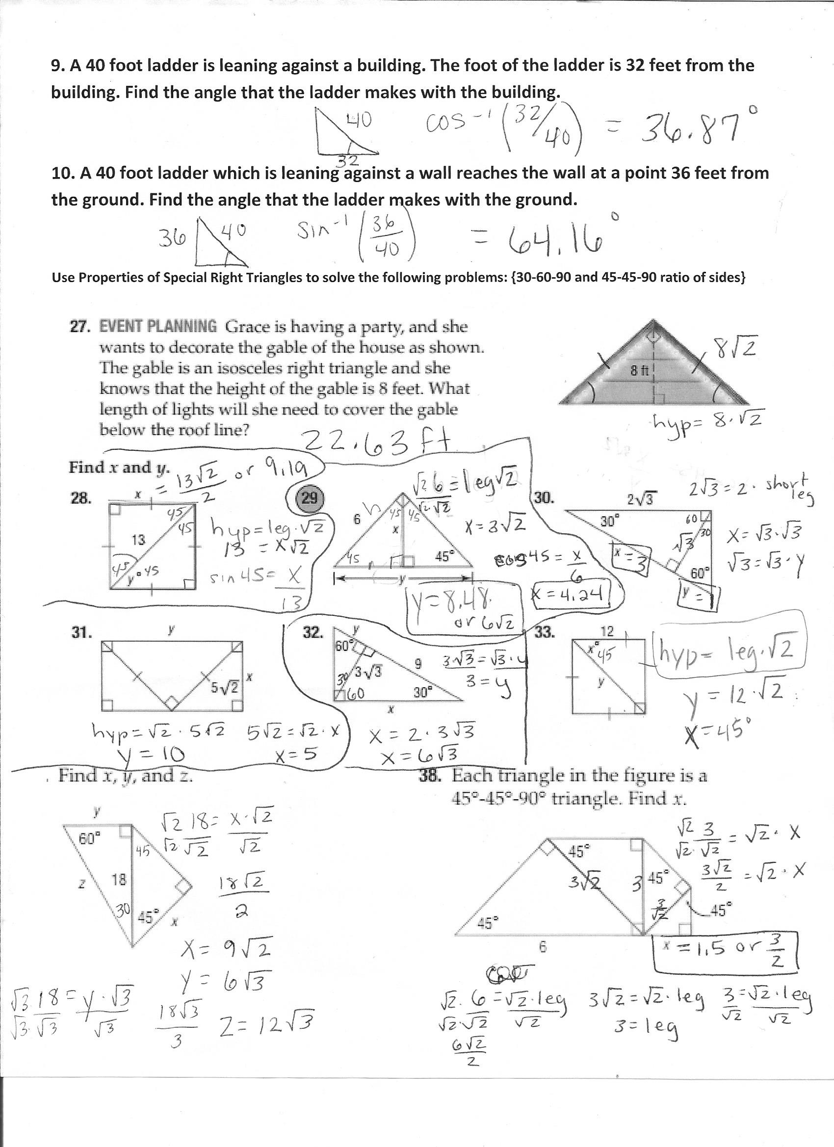 8 3 Practice Special Right Triangles Answers
