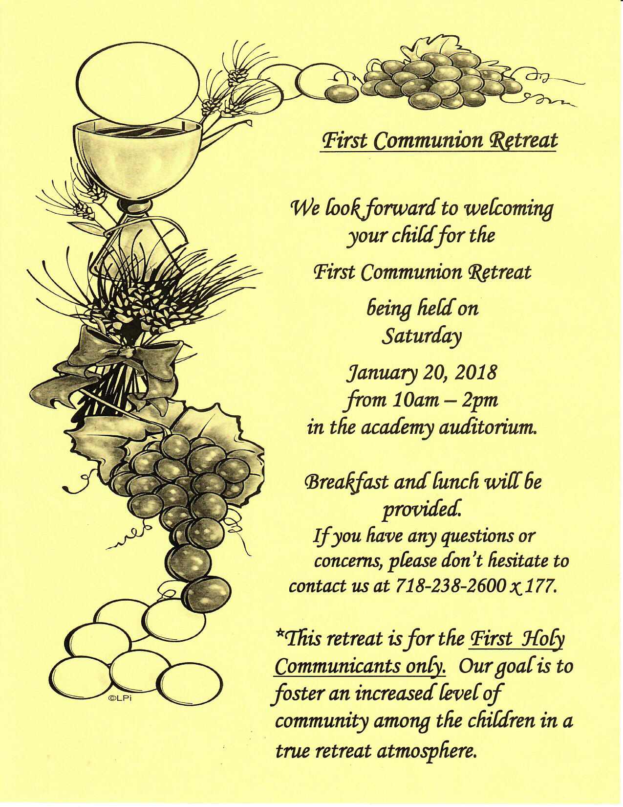 First Communion Retreat This Saturday 1 20 At 10am