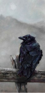 Point Reyes Raven oil on canvas Tracie Thompson
