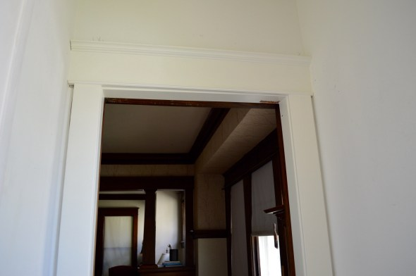 White painted craftsman door trim