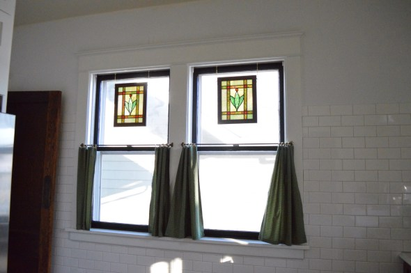stained glass hung in window