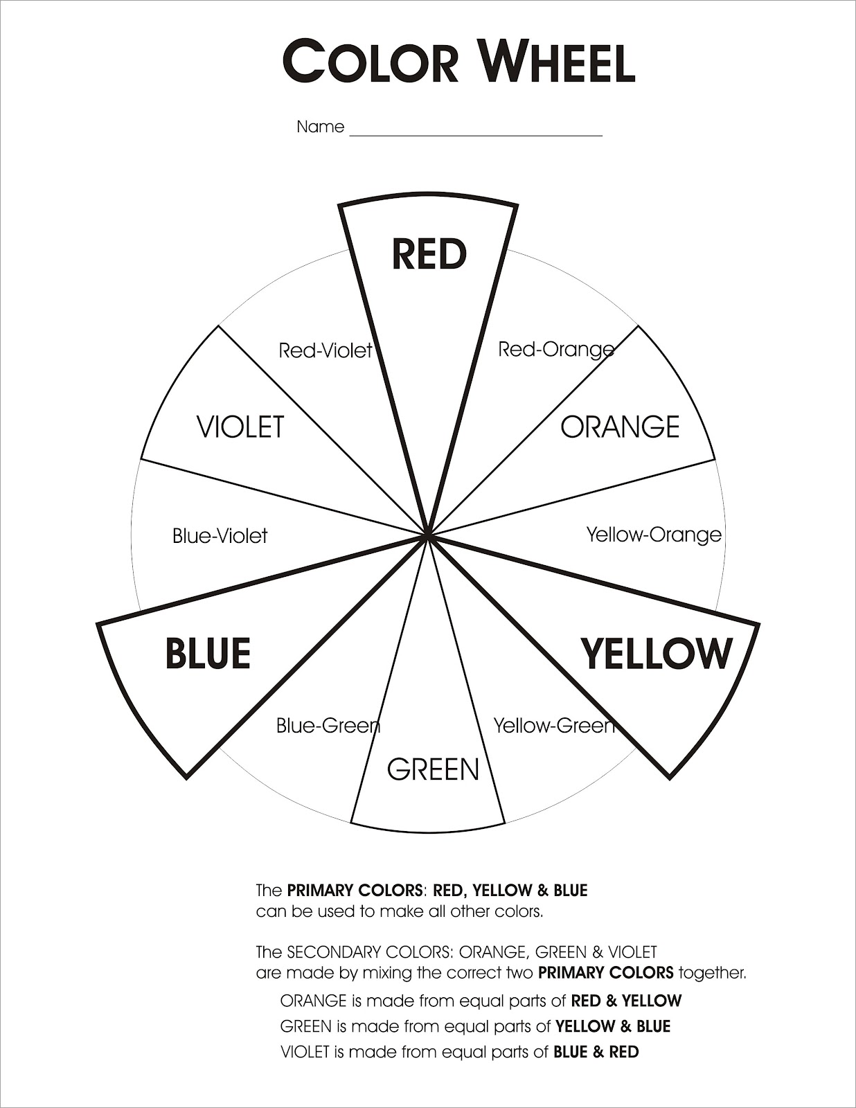 Colorwheel Worksheet