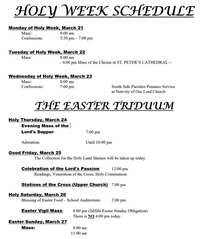 Holy Week Schedule 2016