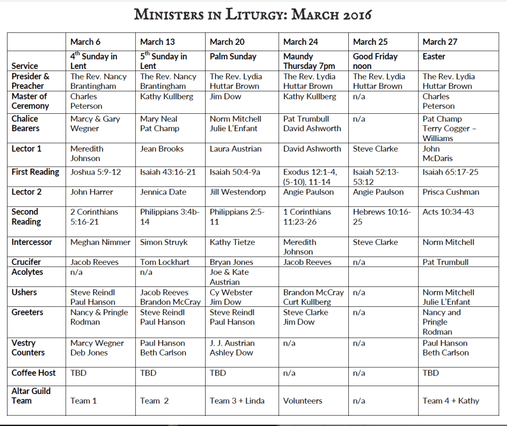 Ministers of Liturgy Schedule March 2016