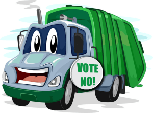 trash truck with vote no sign on it