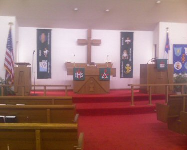 A picture of our sanctuary showing the new banners.