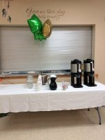 Beverage Center with Packer-colored balloons