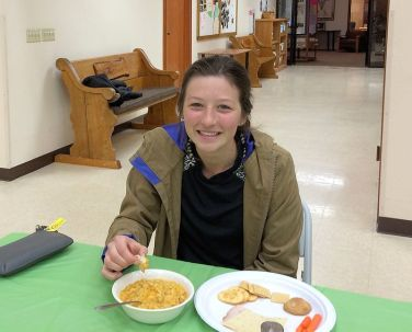 Hannah enjoys her food