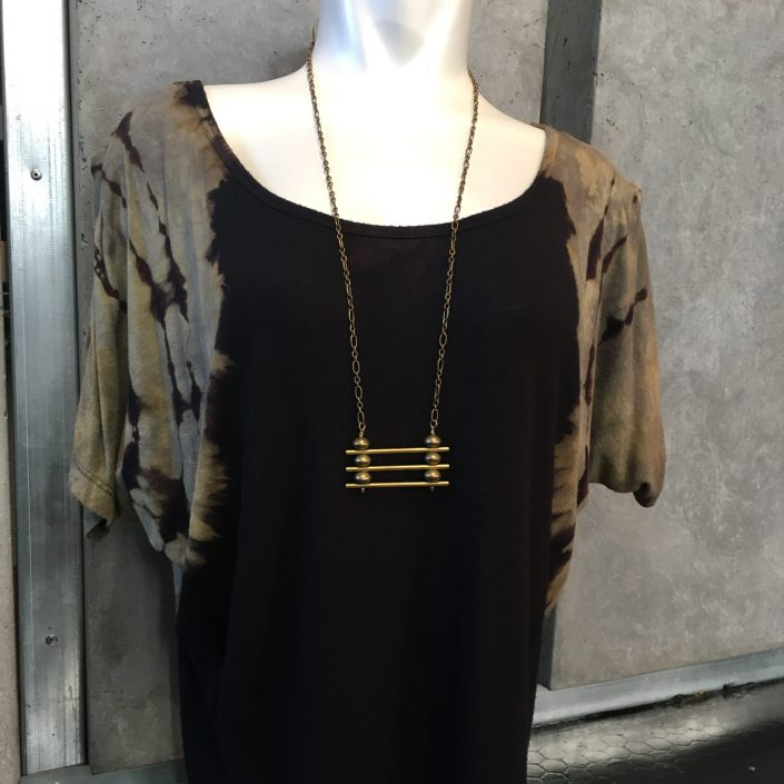 Chain Necklace with Three Bars on Black and Grey Tie-dye Top by Joanna Coblentz