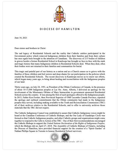 Image of Bishop's Pastoral Letter