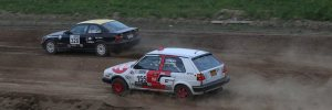 Santiago Iglesias (#328 / '99 BMW 328is) goes head-to-head with Robert Dawson ('90 VW GTI) during the Special Stage at the Tioga County Fairgrounds at STPR 2016. (Lori Lass)