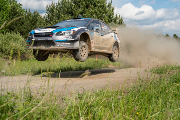Subaru Rally Team USA's David Higgins pilots the WRX to a third consecutive victory at STPR. (SUBARU)