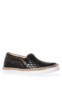 Jeffrey Campbell - The Alva Chain Sneaker in Black Quilt and Gold Chain (US$86.95)