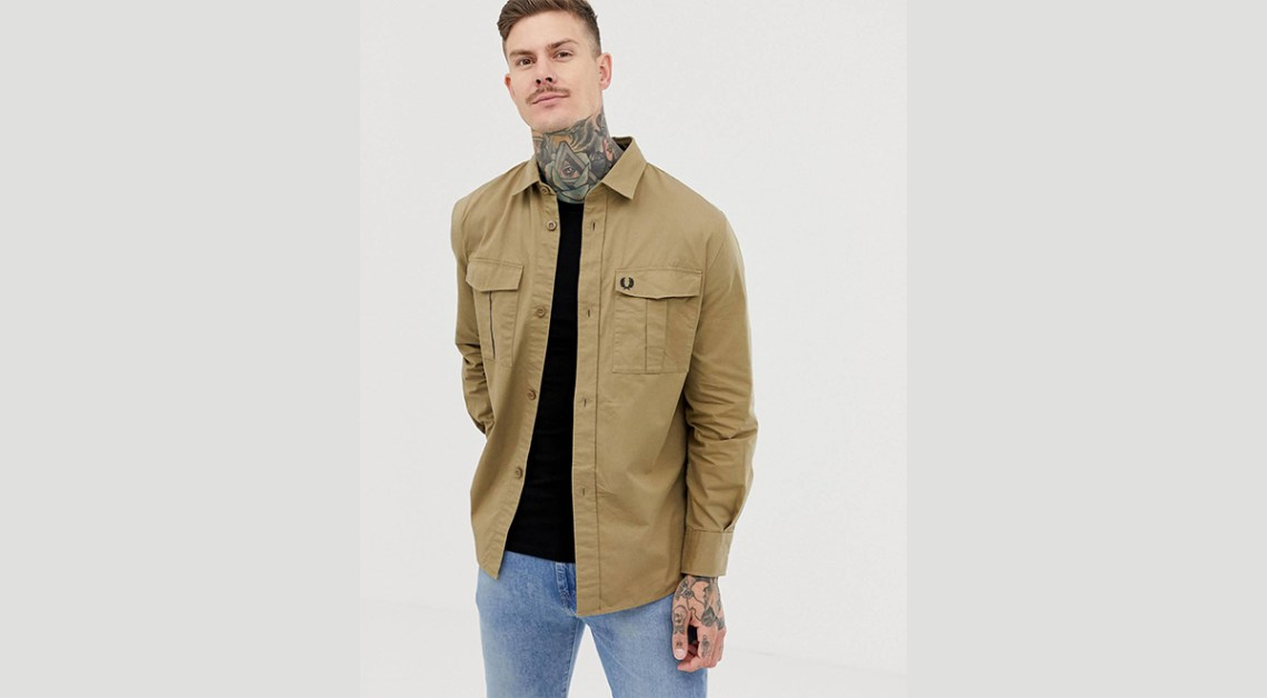 Valentine's day gifts for men Fred Perry utility overshirt in camel