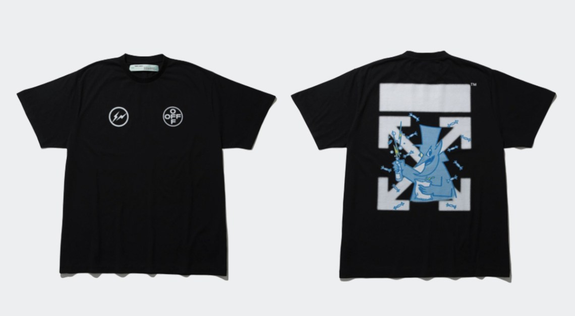 fragment design x off-white collaboration t-shirt the conveni release details