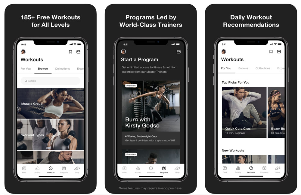 workout apps nike training club
