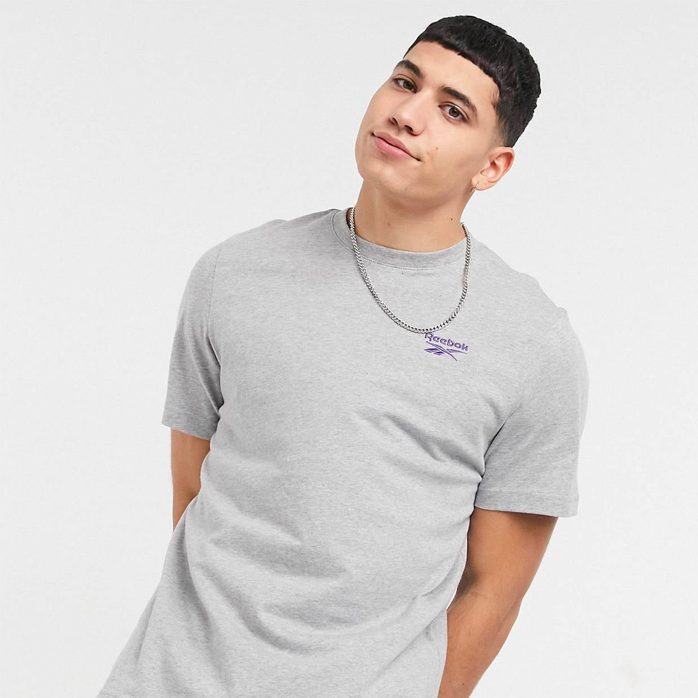 Reebok Classics t-shirt in light grey heather with lilac logo