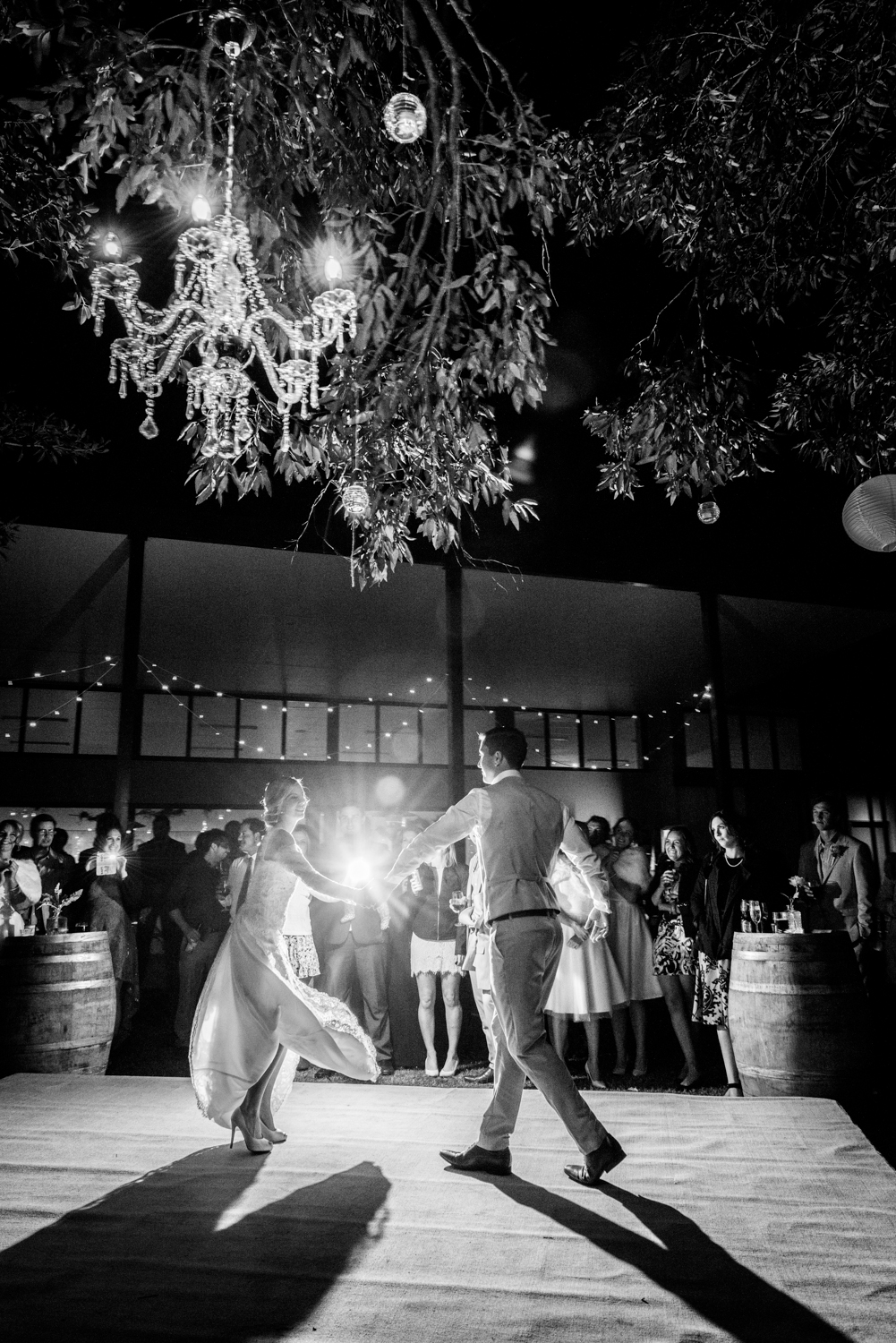 Point Lookout community hall wedding reception   Emma and Anthony wedding video   chandelier in tree