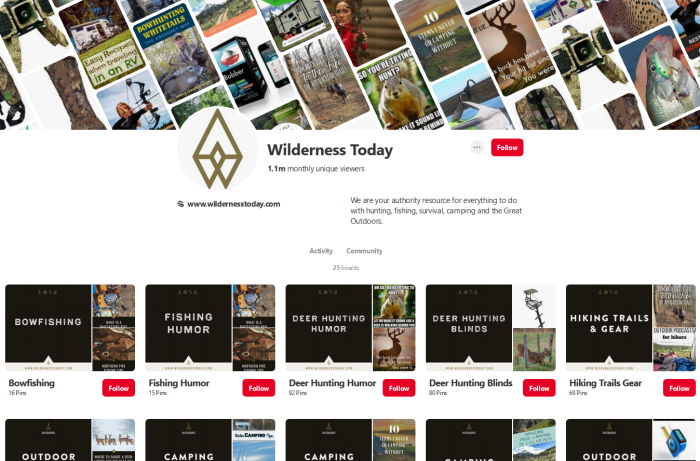 Wilderness Today's profile well-organized profile page on Pinterest
