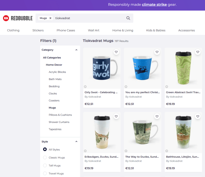 Tiokvadrat mugs on Redbubble