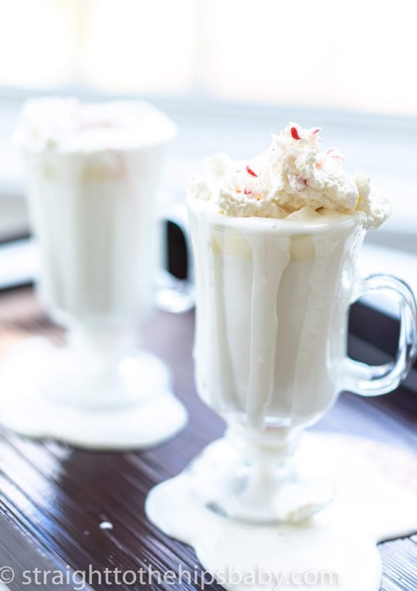 Rich Homemade White Hot Chocolate with Peppermint