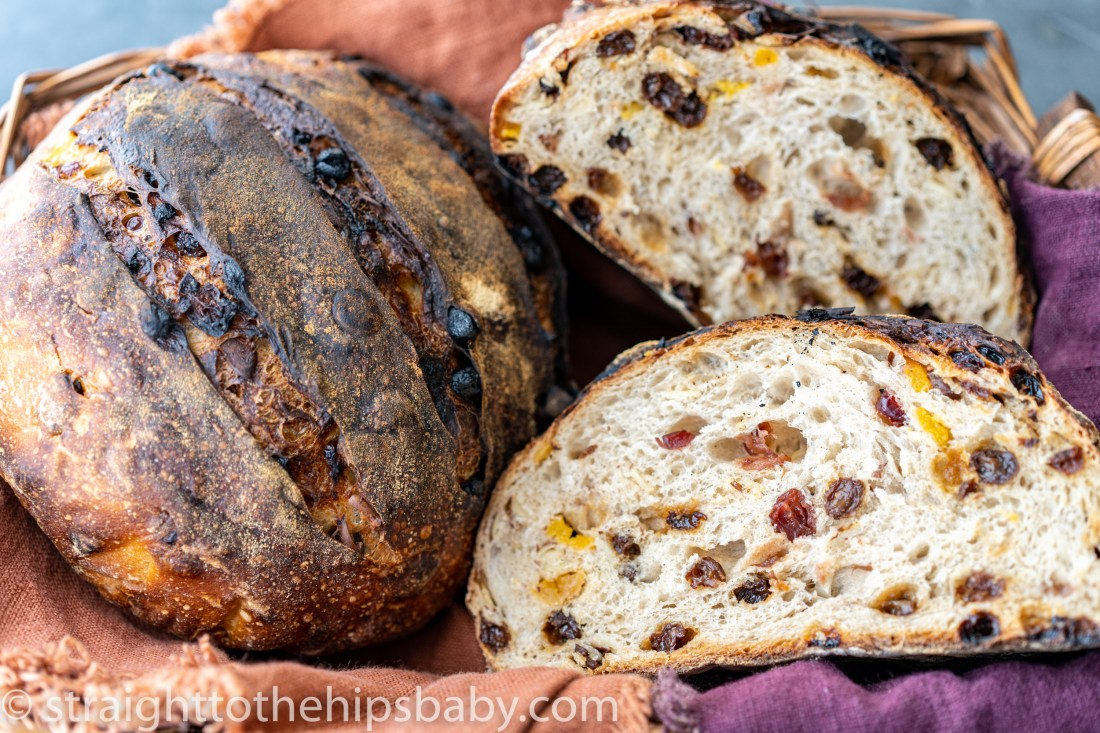 two loaves of toasty dried fruit and nut sourdough bread