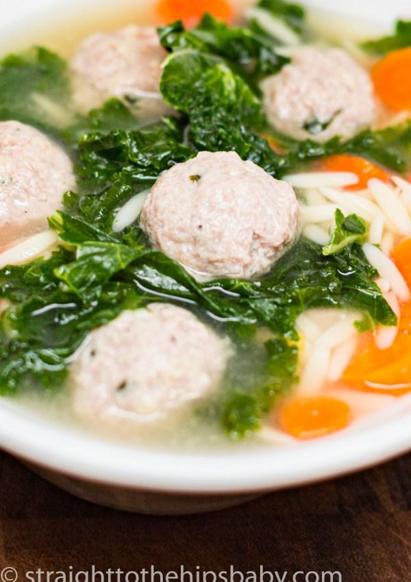 Turkey Meatball Soup with Kale
