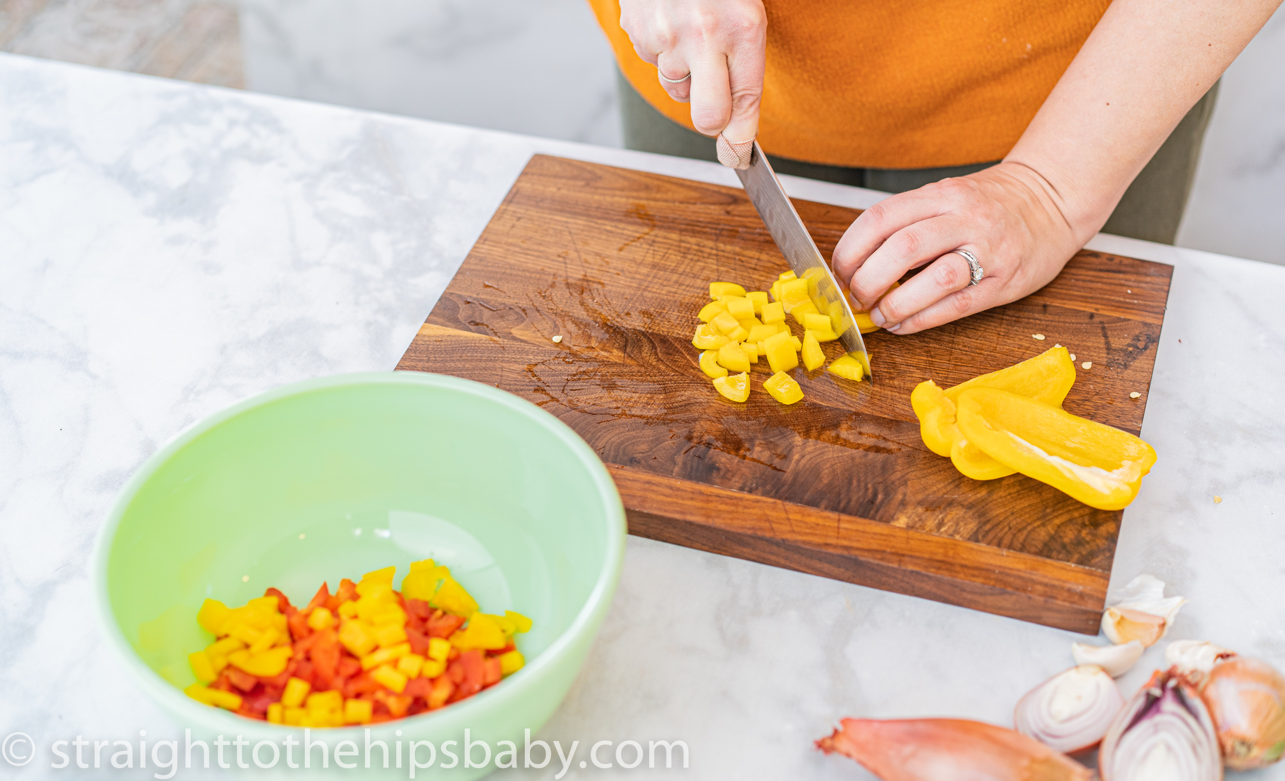 dicing yellow bell pepper