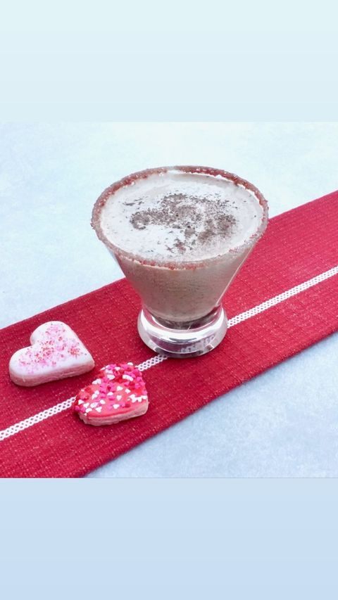 a chocolate martini on a red runner
