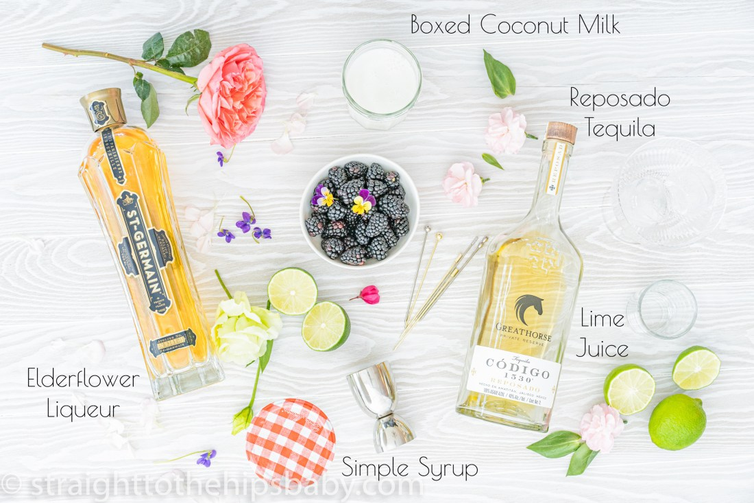 the creamy coconut Paloma ingredient flat lay