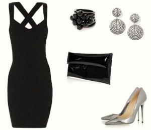 Papuošalai prie juodos suknelės