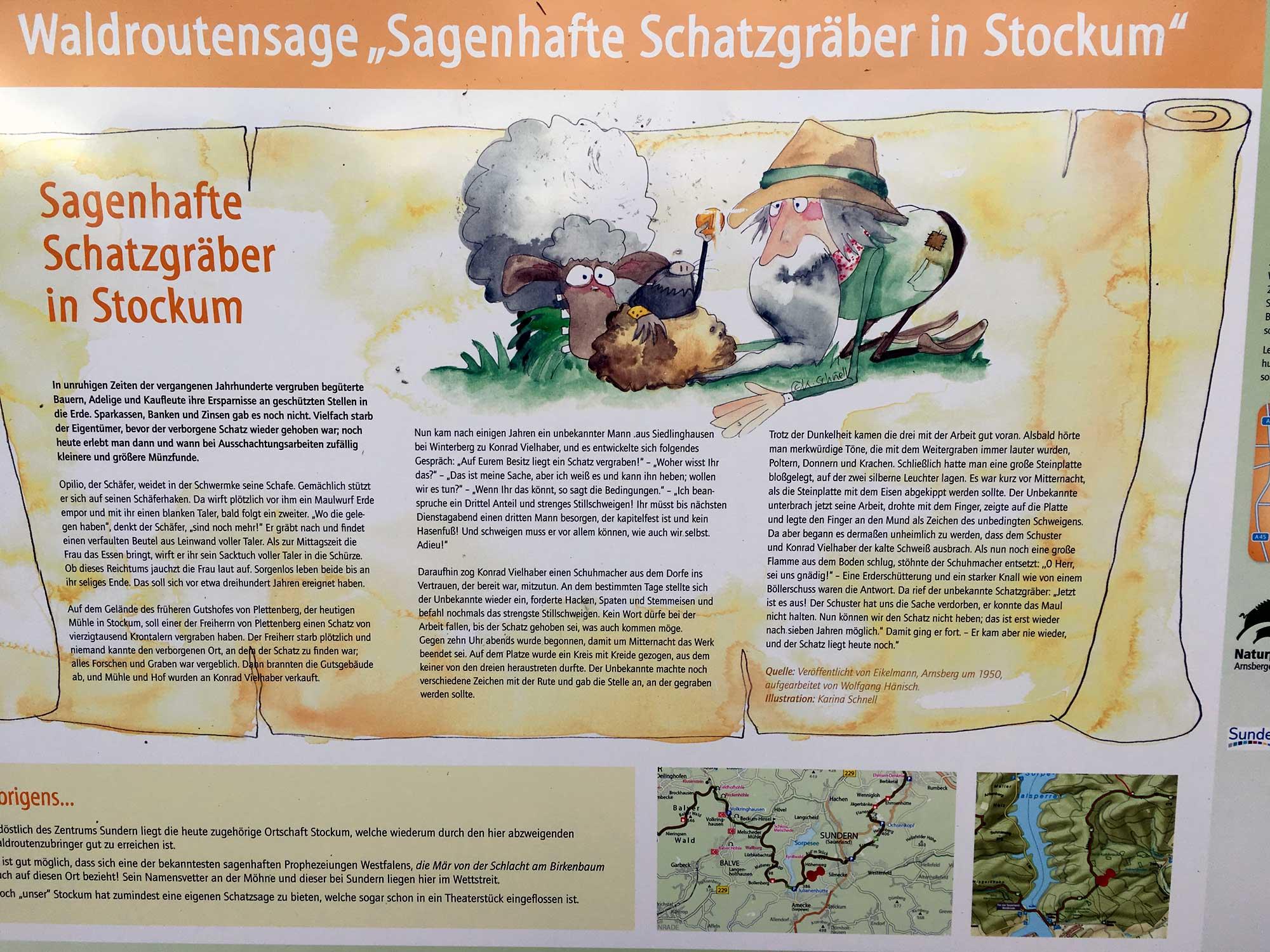 Sagenhafte Schatzjäger Sagentafel auf der Sauerländer Waldroute