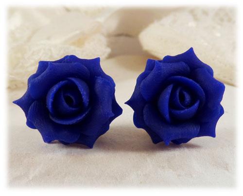 Cobalt Blue Rose Stud Earrings Blue Rose Clip On Earrings