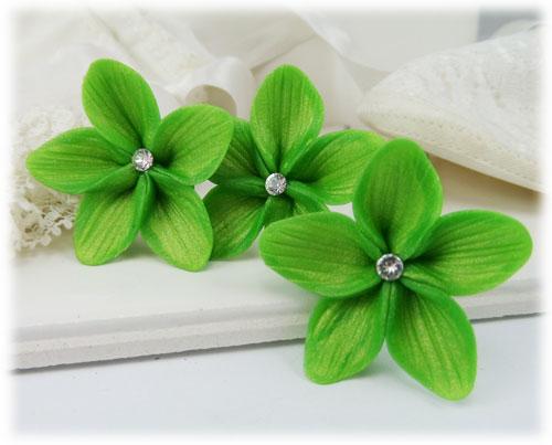 Green Hair Flowers Green Flower Wedding Hair Pins