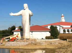 Apparently, Jesus will even welcome highway speeders with open arms. (via Fox 19)