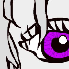Close up of a purple, female eye.