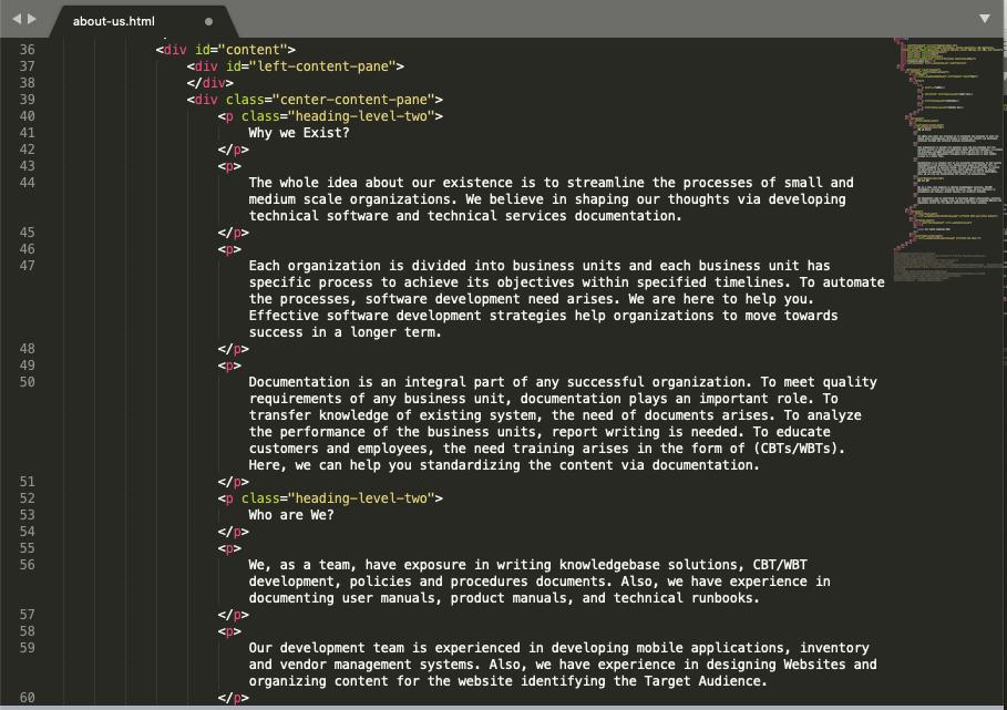 html p tag