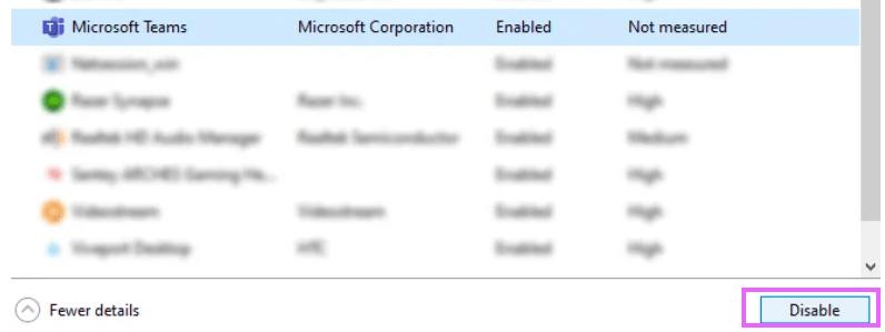 disable Microsoft Team