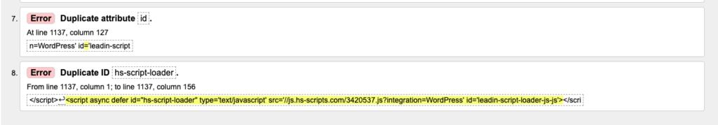 html  duplicate error