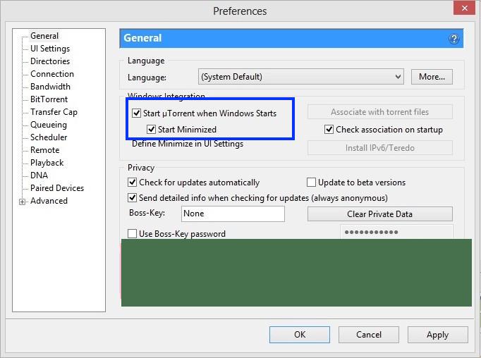 uTorrent  preferences