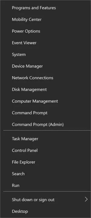 Device Manager menu