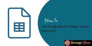 Use Google Sheets Unique Values Function