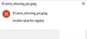 invalid values in registry error
