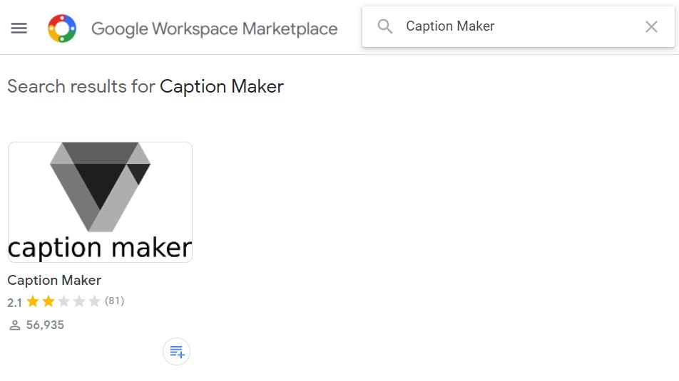 select caption maker add on