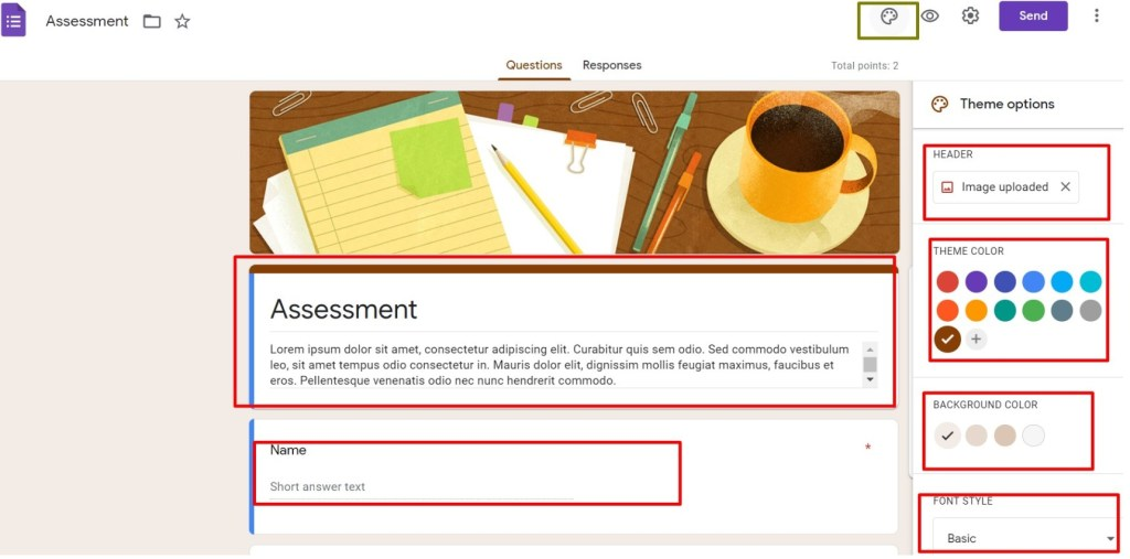 select the assessment template and click header