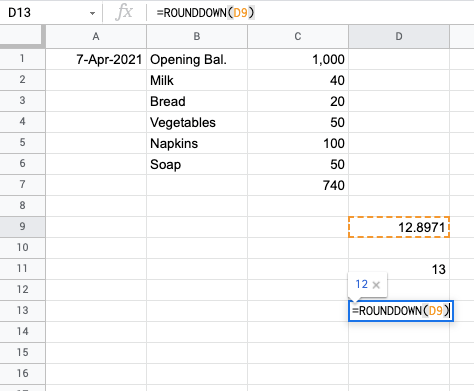 select cell to rounddown the number