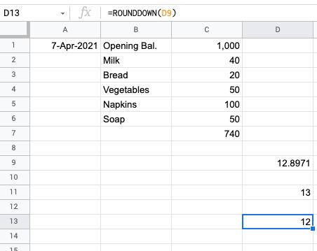 user =rounddown() function in google sheet