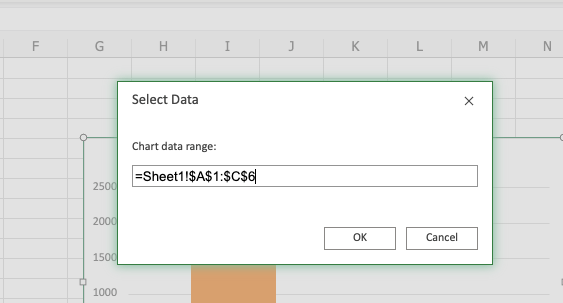 select data for excel chart