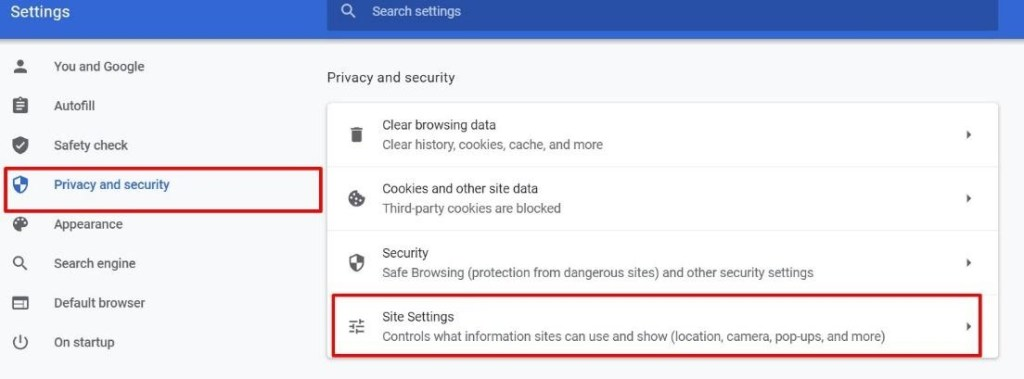 privacy and security >> site settings